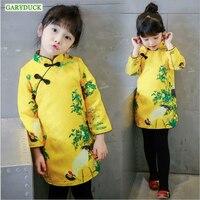 2017 New Autumn Winter Kids Clothes Baby Girl Dress Chinese Wind Cheongsam Long Sleeve Plus Velvet