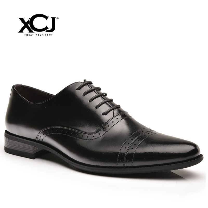 Genuine Leather Men Shoes Men Formal Shoes Men Dress Oxfords Brand Casual Flats Classic Business Gentleman Spring Autumn XCJ genuine leather heightening elevated oxfords men s formal business boots elevator 3 15 inches