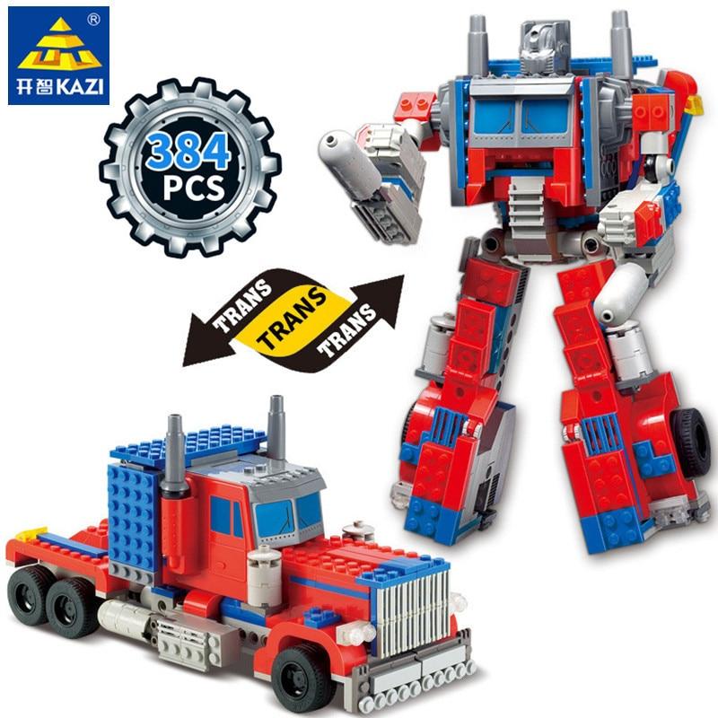384Pcs Caminhão Transformação Robot Guerra Criador Da Cidade de Tijolos Blocos de Construção Define Brinquedos Educativos para Crianças
