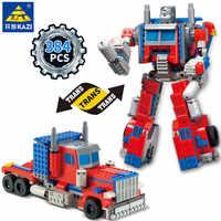 384Pcs Transformation Roboter Lkw Krieg Creator Ziegel City Bausteine Sets Pädagogisches Spielzeug für Kinder