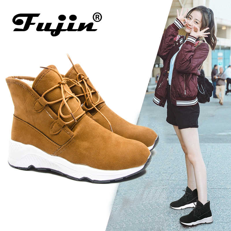 3d5a25c16 ... Fujin Brand Women Boots Autumn Winter Keep Warm Ankle Boots Lace Up  Booties Comfortable Winter for ...