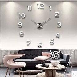 3d Luminosa Real Apressado Espelho Adesivo de Parede Diy Sala de estar Grande Relógio de Parede Decoração Da Casa de Moda Relógios de Quartzo Grande relógio de Parede relógios