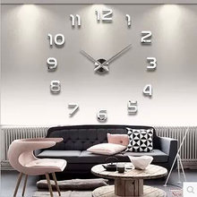 3d Luminous Real Big Wall Clock Rushed Mirror Wall Sticker Diy Living Room Home Decor Fashion Watches Quartz Large Wall Clocks(China)