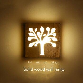 Сплошная деревянная стена лампа Современная короткая декоративная лампа Светодиодная деревянная спальня прикроватная лампа японский сти...
