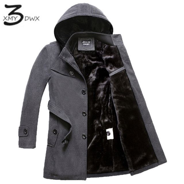 XMY3DWX weight 1.6kg-2.4kg Men premium get warm in winter Slim Fit long Woolen cloth coat/Male hooded slim Fit Trench coat XXXXL