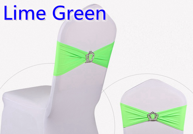 Lime green colour Crown buckles lycra sash for wedding chairs decoration spandex band stretch bow tie lycra ribbon belt on sale