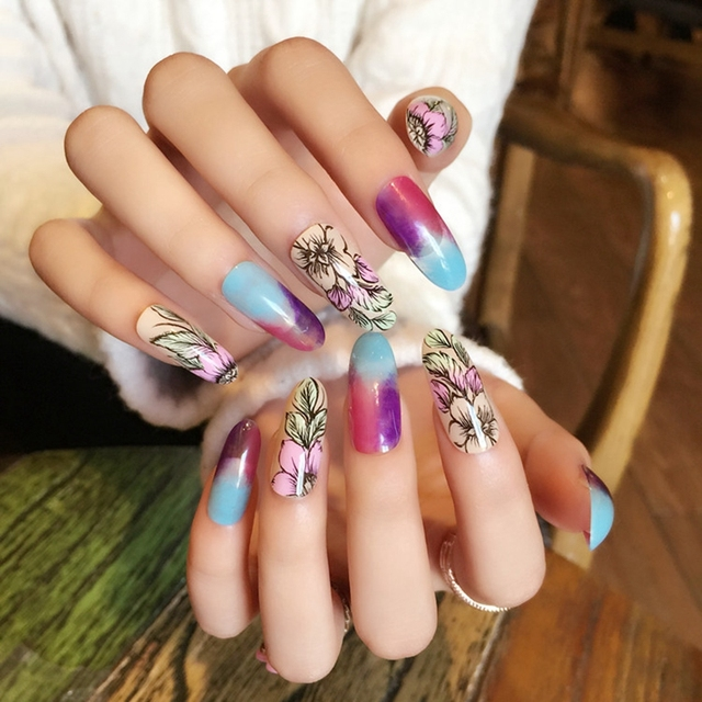 Ink Drawing Style Lady Fake Nails Flower Pattern Long Oval Nail Art
