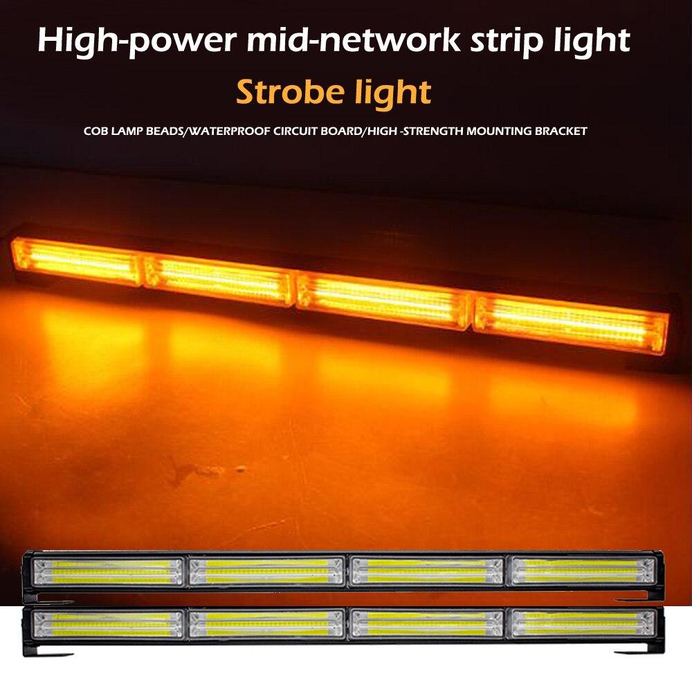 DC12-24V voiture LED Police lumières COB stroboscope simple rangée Bar lampe trafic ouvert route avertissement voiture mi-réseau longue bande lumière 14 Mode