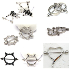 2Pcs/Lot Stainless Steel Skeleton Heart Nipple Ring Flowers Shield Cover Clamps Women Fashion Nipple Ring Piercing Body Jewelry