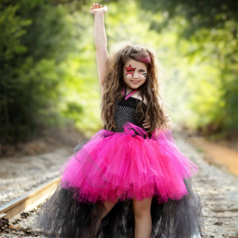 Rock Girl Tulle Tutu Dress Christmas Halloween Costume Cosplay Girl Dress Kid Birthday Photo Prop Performance Dresses Age 8 9 10 fancy girl mermai ariel dress pink princess tutu dress baby girl birthday party tulle dresses kids cosplay halloween costume