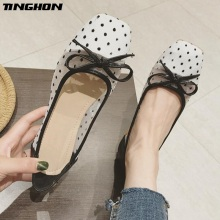 TINGHON Plus Size 35-41 Women Flats Casual Round Toe Ballet Flats Slip On Loafers Fashion Wave Pointed Bowtie Ballet Flats