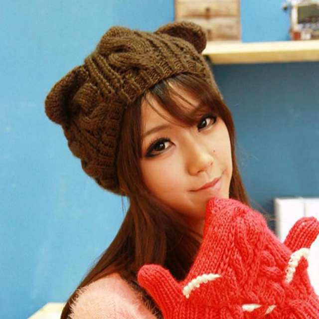 f9f16c0c82fe8 Online Shop Lovely Cat Ears Beanie Women Hat Warm Solid Color Hip-hop Cap  Lady Girls Cute Winter Knitted Skullies Beanies Casual Warm Caps