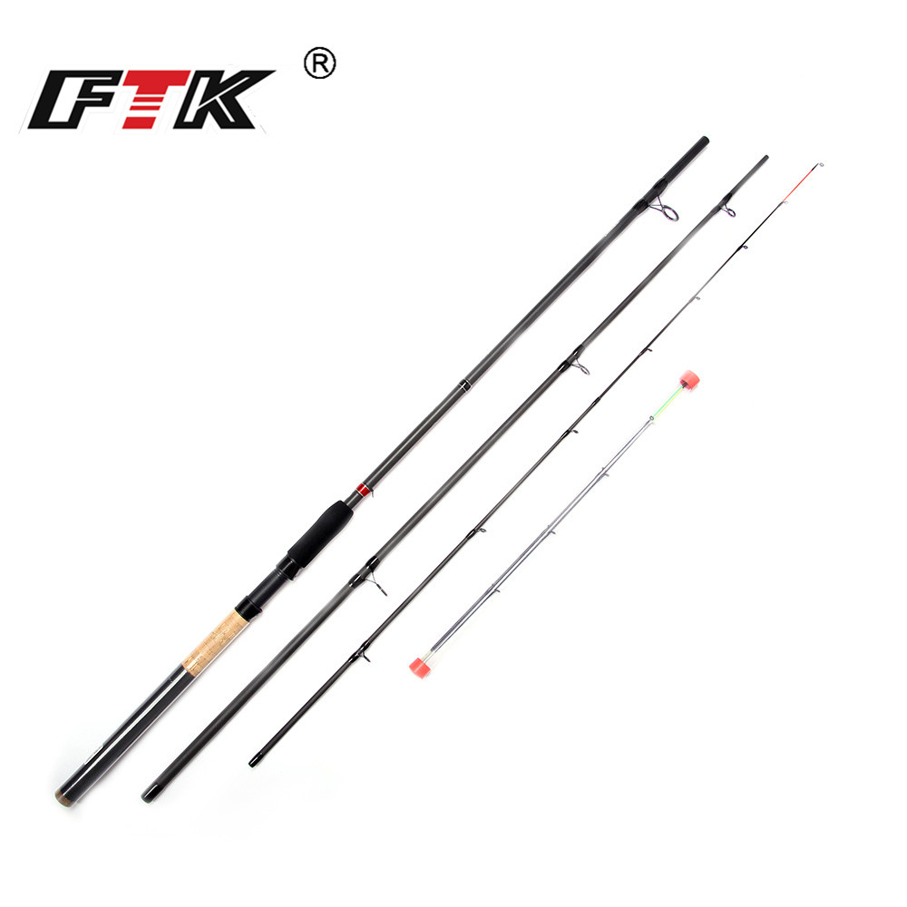 FTK Fishing Rod 99% Carbon Feeder Rod 3 Section C.W 40 120G 3.3M 3.6M 3.9M With 3 Rod Tips Standard Baitcasting Lure Fishing