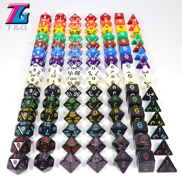 Atacado jogo de dados 7 pc/lote Alta Qualidade Multi-colorido Dice Set D4, 6,8, 10,10%, 12,20 conjuntos de dados dnd dice rpg