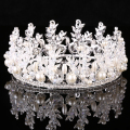Silver Plated Crystal Pearl Rhinestone Tiara Wedding Bridal Round Crowns Princess Queen Pageant Prom Bride Hair Accessories
