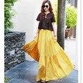 Otoño Primavera Amarilla 6XL 7XL Más Tamaño de Cintura Alta de Playa Plisada Elegante Falda Jupe Longue Femme Saia Vendimia
