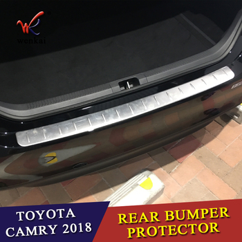 Rear Step Bumper | WK Car Accessories Fit For Toyota CAMRY 2017 2018 XV70 Rear Bumper Protector Step Panel Boot Cover Sill Plate Trunk Trim