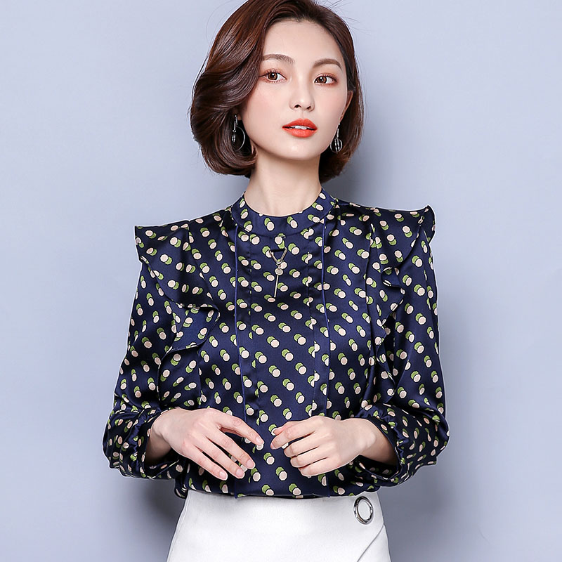 67ba5f0d9fe QoerliN Plus Size Chiffon Autumn Woman Blouse Ruffles Printed Elegant OL  Work Tops Round Neck Long Sleeve Shirts Female M XXXL-in Blouses   Shirts  from ...
