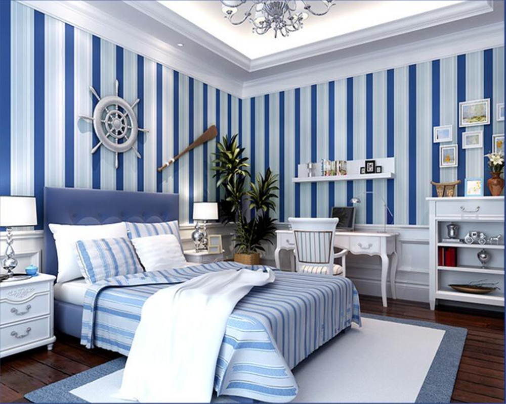 Beibehang 3d wallpaper Mediterranean striped wallpaper living room bedroom full of vertical striped wallpaper papel de parede beibehang vertical striped embroidery diamond in the mediterranean bedroom living room wallpaper tv wall papel de parede