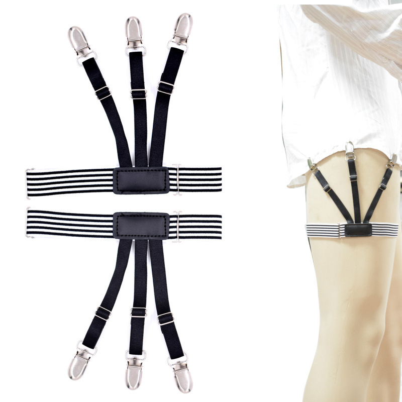 Mens Black White Stripe Shirt Stays Garters Holders Tirantes Hombre Elastic Adjustable Men Leg Suspenders Belt Tuck 3 Clips