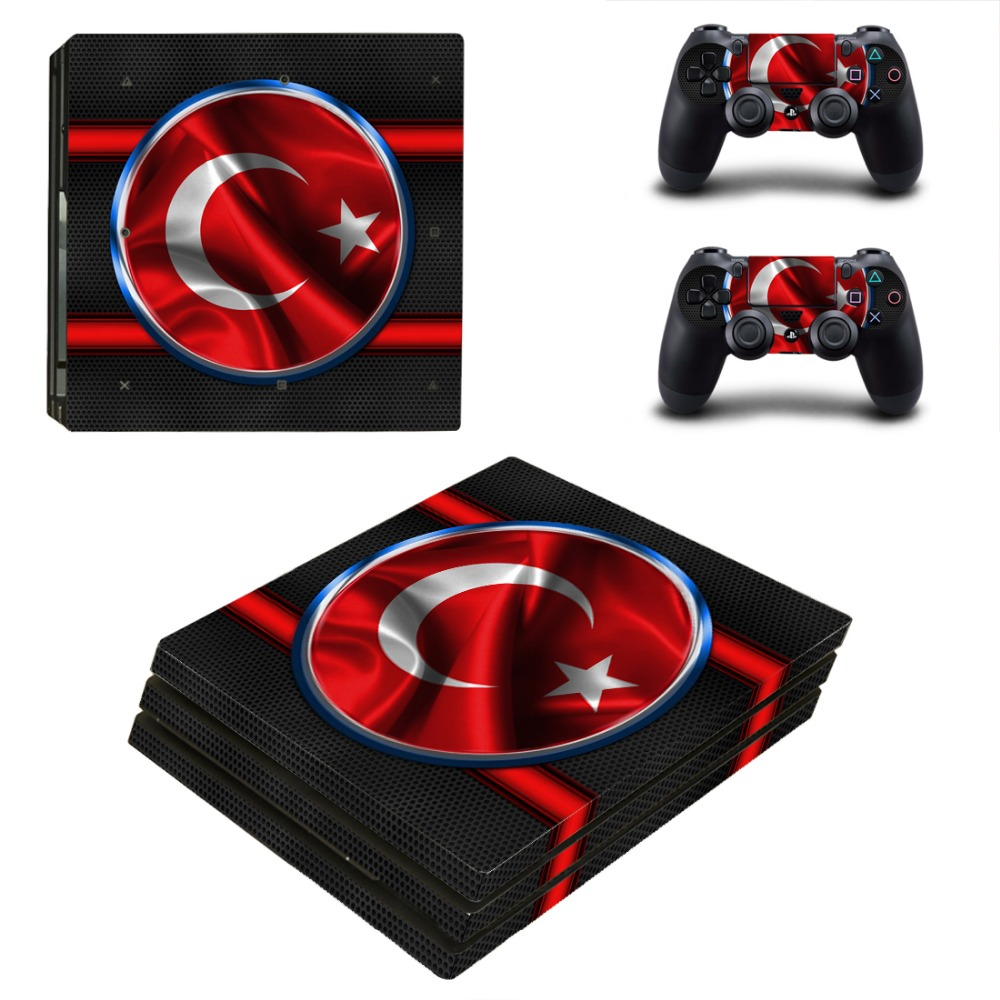 Turkey Flag PS4 PRO Skin Sticker for Sony PS4P Console and 2 Controllers Decal Cover Game Accessories