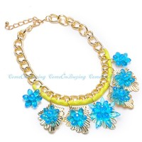 Fashion Graduation Party Jewelry Gift Free Shipping Gold Chain Silk Colorful Crystal Flower Bib Choker Pendant Necklace