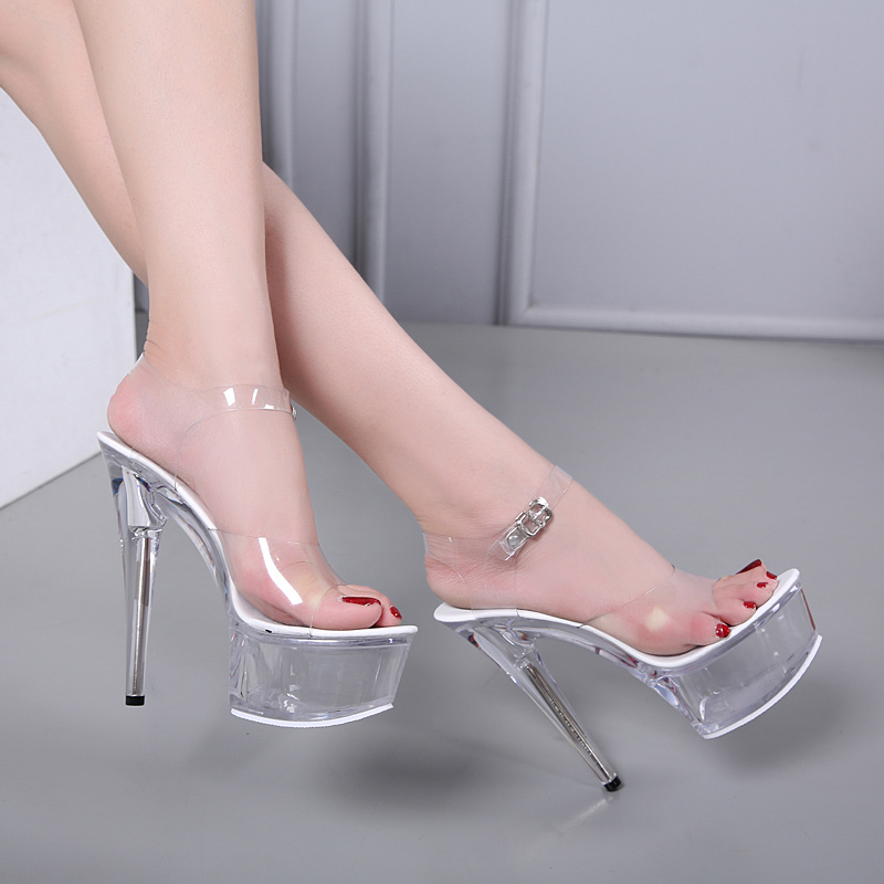 Car Show Female Sandals Shoes Women 2018 Explosive Sexy High heel shoes 15CM fine Waterproof Table Sandals Crystal Shoes Wedding