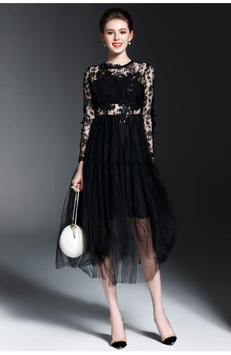 New Long Sleeve Cocktail Dresses Tea Length Evening Party Dresses ...