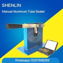 Aluminum tube sealing machine, teeth paste sealer, aluminum stamping with expiration codes, manual sealer
