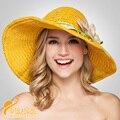Moda Colorida Ajenjo Flor Grande de Encaje Señoras de La Manera del Sombrero Del Sol Del Verano Protector Solar Casquillo de la Playa Sombrero de Paja Sombreros