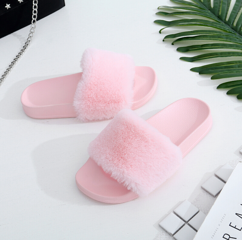 2017 Autumn Fluffy Home Women Slippers Open Toe Thicken Antiskid Solid Color Flip Flops Plush Fashion Indoor Outdoor Shoes summer bathroom shower pvc women men slippers antiskid solid color couple flip flops indoor female male fashion shoes