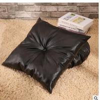 American Retro Black PU Imitation Leather Square Futon Cushion Cushion Sofa Pillow Cushions
