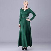 Muslim clothing Islamic long dress solid green long sleeve ladies elegant  maxi dresses females design evening party dress 5102 9eb3b0772ab7