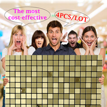 New Design Metal Gold Self-adhesive Wall Sticker Home Decor Living Room Adesivo De Parede 30cm Peel and Stick Backsplash Mosaic