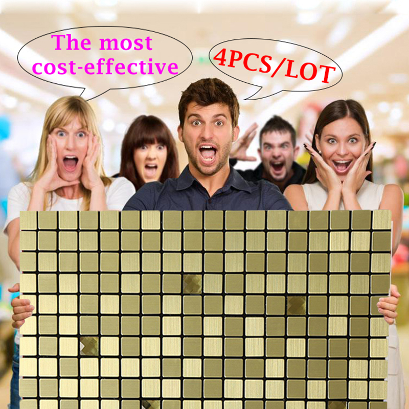 New Design Metal Gold Self adhesive Wall Sticker Home Decor Living Room Adesivo De Parede 30cm Peel and Stick Backsplash Mosaic