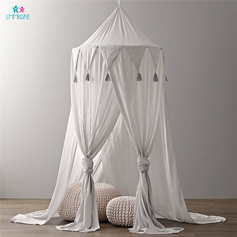 Cotton Baby Crib Netting Solid Chiffon Fringed Bed Curtain Kid's Triangular Flag Lace Tent Princess's room Baby Mosquito Nets