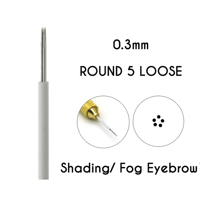 Microblading Shading Round  Needles 3/5/7/9/17/19/21 Needles Permanent Makeup Eyebrow Tattoo Needles Brows Embroidery Pins 1