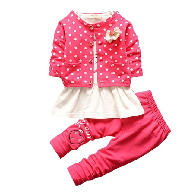 1bbc8cd795b8a Kids Coat+ T-shirt + Pants Children Cute Princess Heart Shaped Print Bow  Baby Girl Outfits 3 Pcs Autumn Baby Girl Clothing Sets