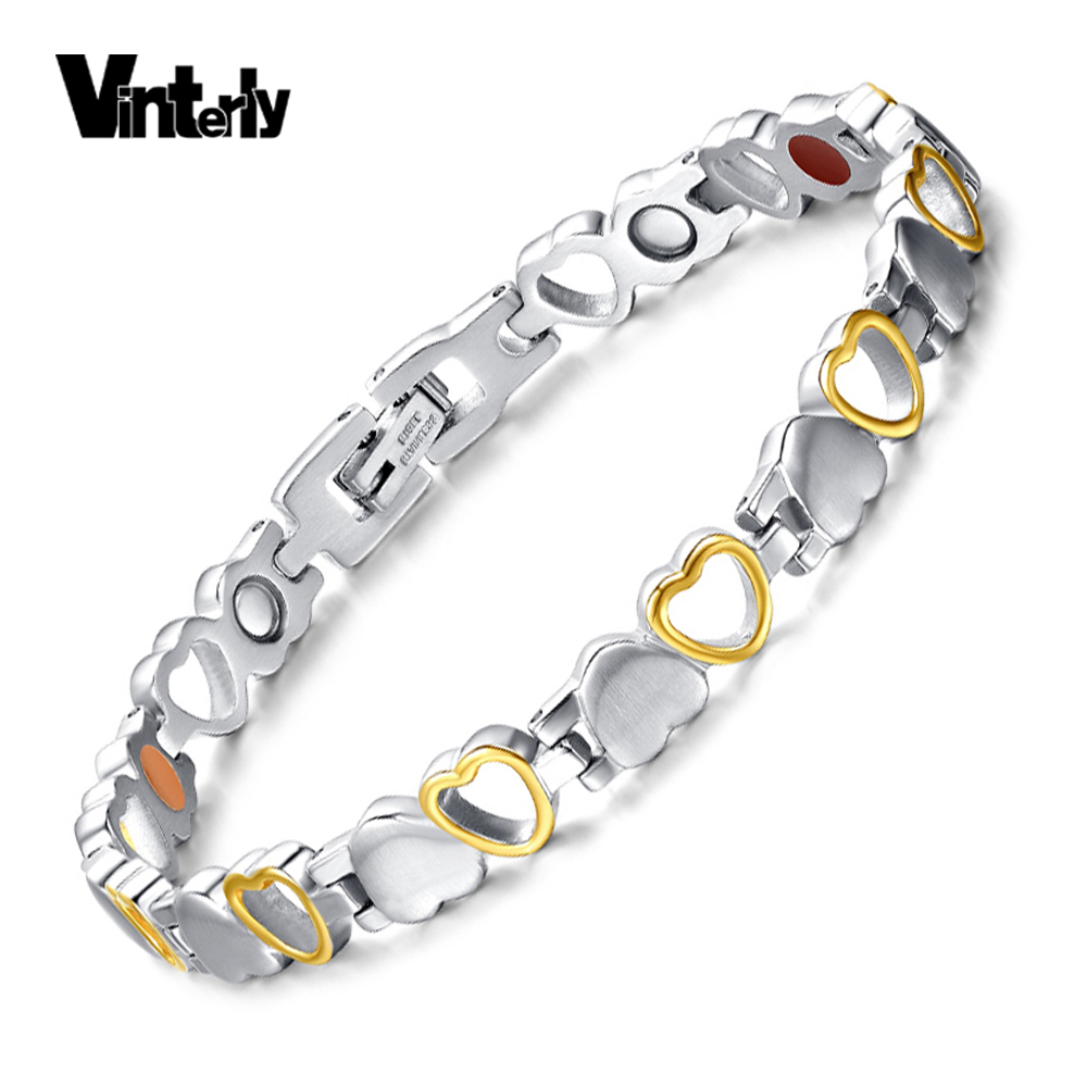 Vinterly Simple Heart Design Germanium Bracelet Gold Color Stainless Steel  Magnetic Bracelets For Women Jewelry Hand
