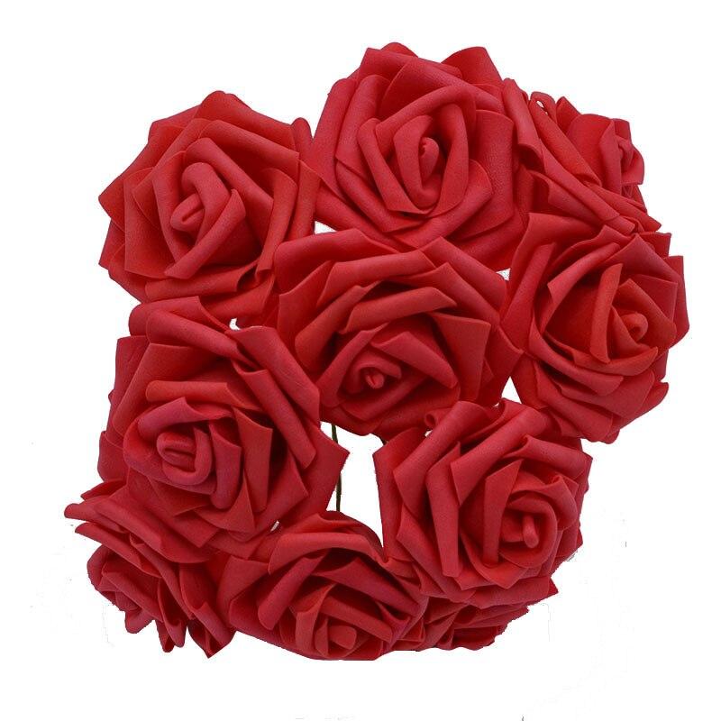 10 шт. 8 см большие ПЭ пенные цветы искусственные розы цветы Свадебные букеты Свадебные украшения для вечеринки DIY Скрапбукинг Ремесло поддельные цветы - Цвет: red  no leaf