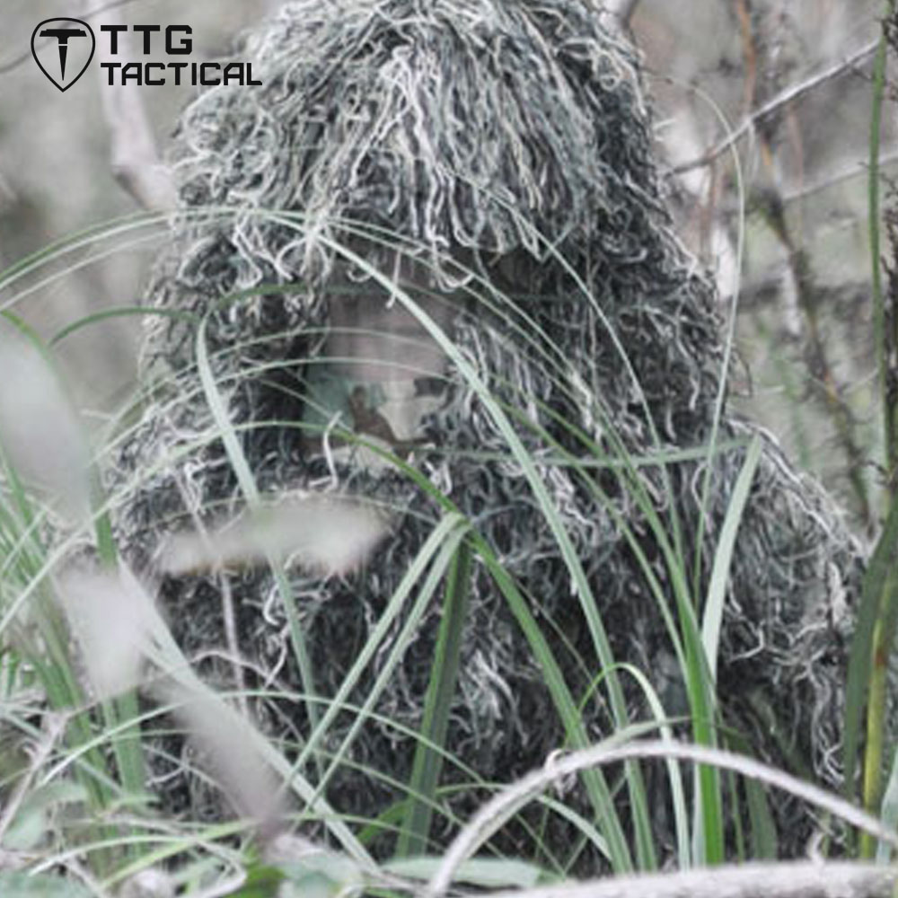 TTGTACTICAL Sniper Tactical Ghillie Hood Camouflage Ghillie Suit Hood for Hunting Airsoft Paintball 3d jungle camo ghillie suit camouflage hunting clothing sniper tactical camouflage suit bionic training suit paintball airsoft