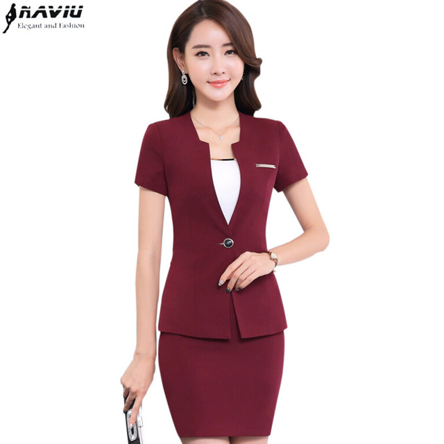 Online Shop Summer slim work wear women skirt suit set OL fashion ...