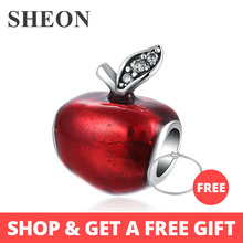SHEON 925 Sterling Silver Beads Red Enamel Apple Charms Beads With CZ Fit Original Pandora Bracelets DIY Jewelry Christmas Gifts christmas trees red apple crystal cz 925 bracelet