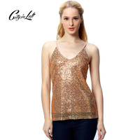 2015 Women Crop Top European New Fashion Sexy Short Camis Sweet Sexy Gold Sequins Custom Fine