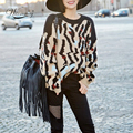 High Quality Sweater Brand Leopard Print 2017 Women Long Sleeve Loose Sweater Knitted Coat Jacket Outwear Casual New WS-135