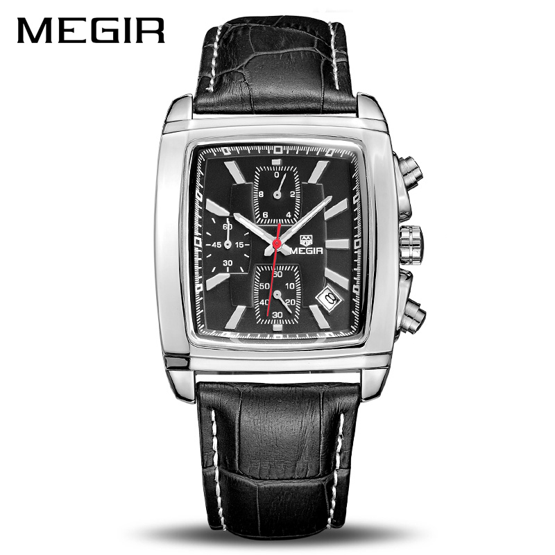 MEGIR Official Quartz Men Watch Genuine Leather Watches Clock Men Chronograph Watch Relogio Masculino for Man Male Students 2028 genuine jedir quartz male watches genuine leather watches racing men students game run chronograph watch male glow hands