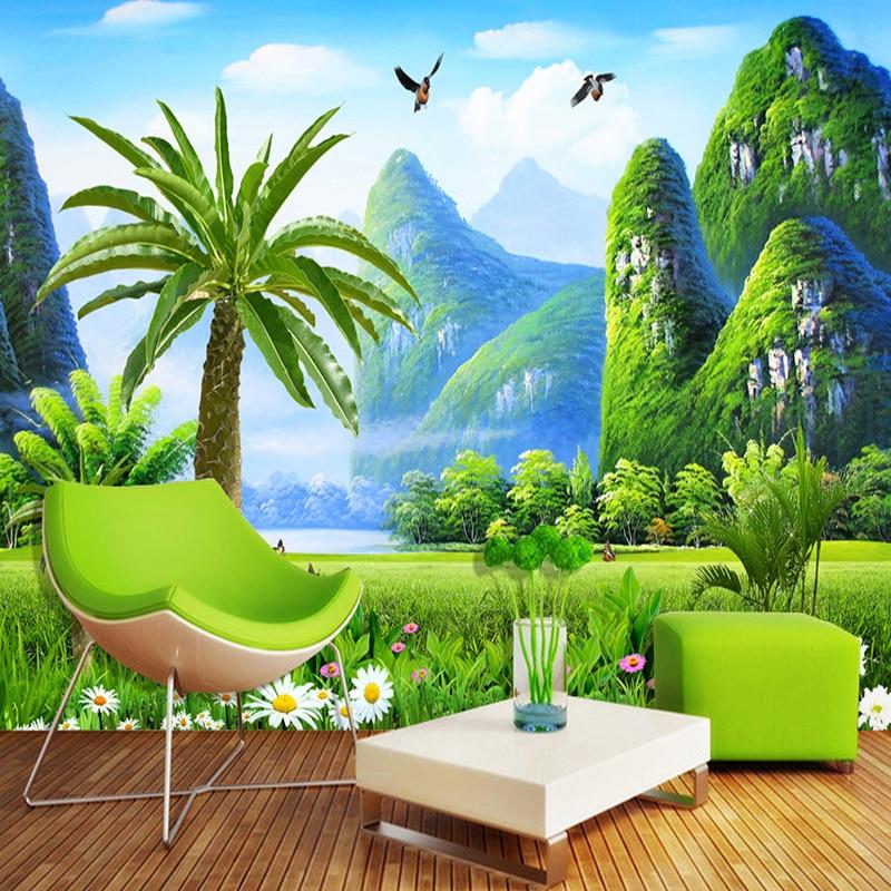 Custom Any Size Mural Wallpaper 3D Nature Landscape Wall Painting Living Room TV Sofa Backdrop Wall Home Decor Papel De Parede