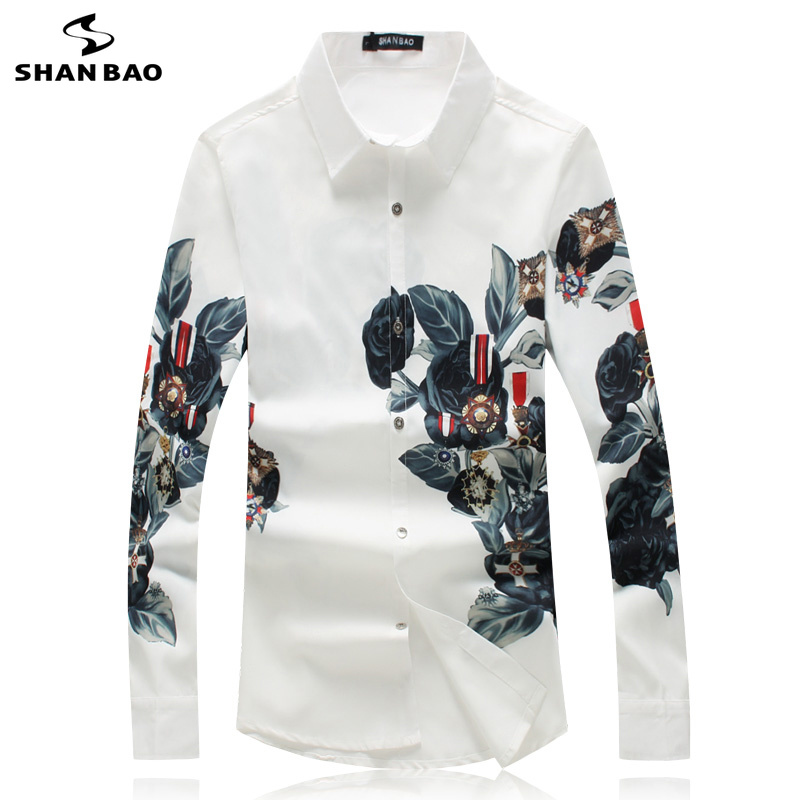 SHANBAO Simple Luxury High Quality Pattern Print Men's White Slim Long Sleeve Shirt 2019 Autumn New Style Wedding Banquet Shirt