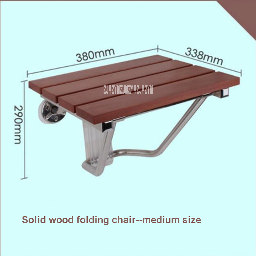 High-quality Solid Wood Shower Folding Seat Bath Shower Wall Chair Bathroom Stool Household Wall Mounted Shower Seat (38*33.8cm)