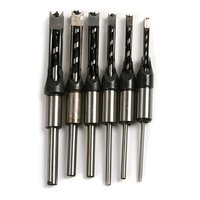 6pcs HSS Woodworking Square Hole Drill Bit Mortising Chisel Set Mortiser Drill Bit For DIY Woodworking